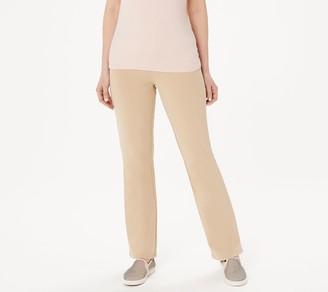 Denim & Co. Regular Comfy Knit Smooth Waist Lightly Boot-Cut Jeans
