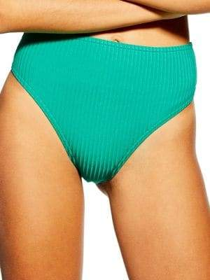 Topshop High Waist Ribbed Bikini Bottoms