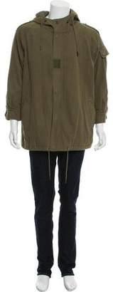 Saint Laurent Hooded Twill Coat