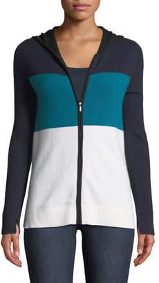 Neiman Marcus Cashmere Striped Zip-Front Hoodie