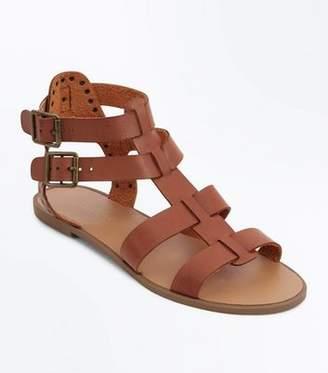 db382ae27357b New Look Tan Studded Buckle Gladiator Sandals