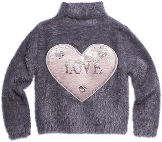 Imoga Fuzzy Yarn Turtleneck Sweater w/ Sequin Love Patch, Size 4-6