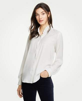 Ann Taylor Ruffle Button Down Blouse