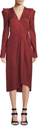 A.L.C. Carolina Pleated Long-Sleeve Silk Wrap Dress