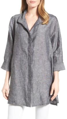 Women's Foxcroft Chambray Linen Tunic $89 thestylecure.com