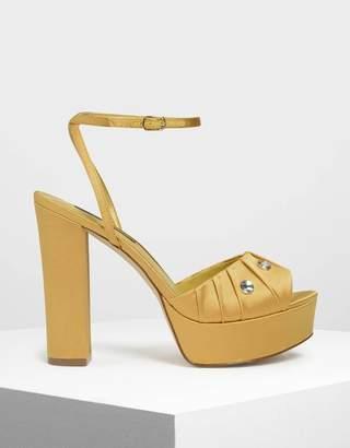 Charles & Keith Bejeweled Platform Heels