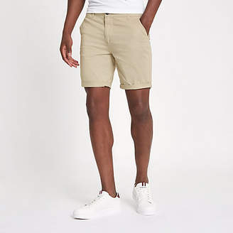 River Island Light brown turn-up hem skinny fit shorts
