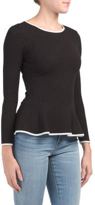 Made In Usa Ruffle Hem Ribbed Top With Contrast Piping