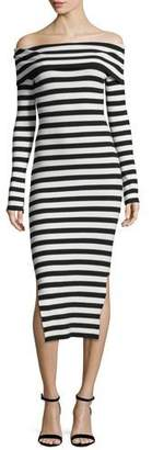 Milly Long-Sleeve Off-Shoulder Rib Dress