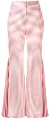 Sara Battaglia gingham pleated flared trousers