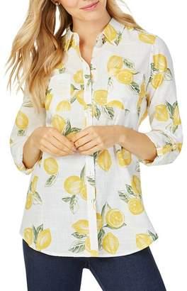 Foxcroft Zoey Lemon-Print Shirt