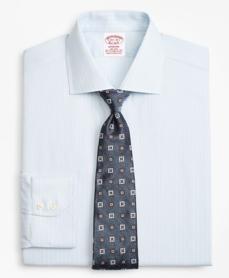 Brooks Brothers Stretch Madison Classic-Fit Dress Shirt, Non-Iron Royal Oxford Framed Ground Stripe