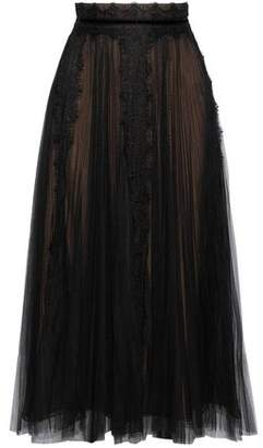 Marchesa Velvet And Lace-Trimmed Pleated Tulle Midi Skirt