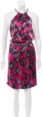 Blumarine Floral Print Belted Dress