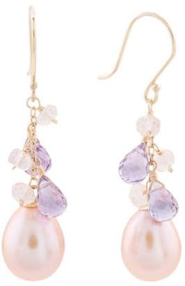 Made In Usa 14k Gold Pink Pearl Amethyst Rose Quartz Earrings