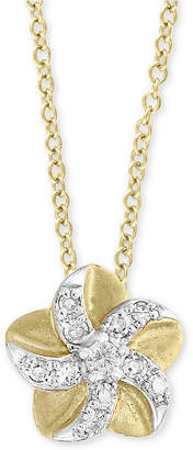 "Effy Kidz Children's Diamond Accent Flower 16"" Pendant Necklace in 14k Yellow Gold"