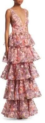 Marchesa Tiered V-Neck Gown