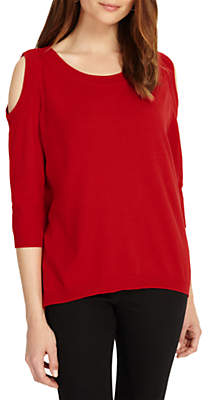 Miss Selfridge Phase Eight Cold Shoulder Jumper, Cadmium Red