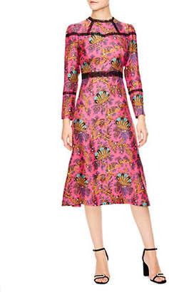 Sandro Oeuvre Printed Silk Long Sleeve Dress