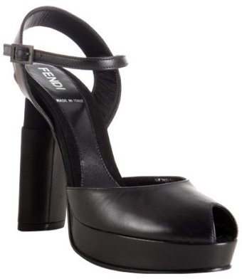 Fendi black leather peep toe platform slingbacks