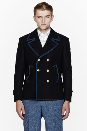 Thom Browne Navy felted wool jacket-fit Marco peacoat