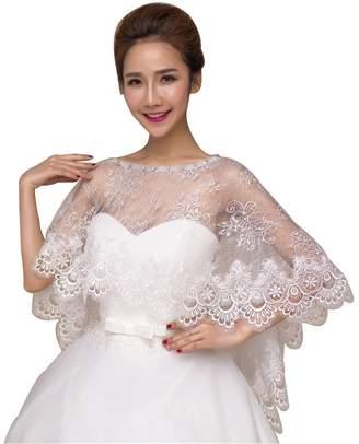 BHLSZ Elegant Lace Appliques Crystals Women Cape Wedding Shawl 057IV1