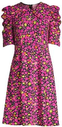 Kate Spade Marker Floral Puff-Sleeve Dress
