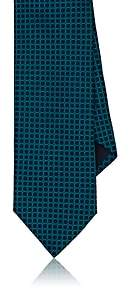 Barneys New York MEN'S CIRCLE-PATTERN SILK JACQUARD NECKTIE-TURQUOISE