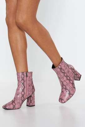 90c876b3732 Nasty Gal Snake Your Way Faux Leather Ankle Boots