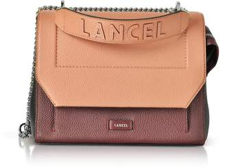 Lancel Ninon Round Cassis, Black and Blush Leather Medium Flap Bag
