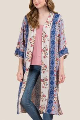 francesca's Posey Floral Border Maxi Kimono - Oxford Blue