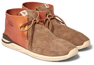 Visvim Huron Leather And Suede Sneakers - Men - Camel