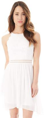 Iz Byer Juniors' Scallop Edge Lace Fit & Flare Dress