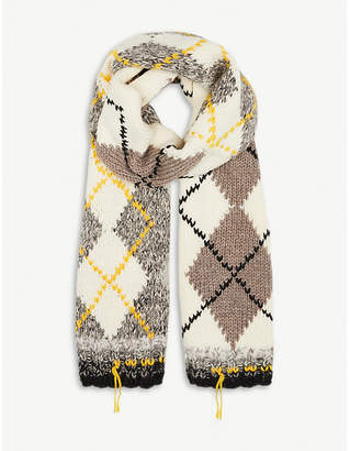 Pringle Argyle-knit wool-blend scarf