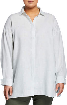Lafayette 148 New York Alyssa Virtuous Linen Striped Blouse, Plus Size