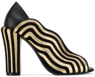 Fendi striped wave mules