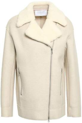 Harris Wharf London Faux Shearling-trimmed Wool-felt Jacket