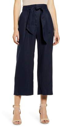 Chelsea28 Tie Waist Crop Wide Leg Linen Pants