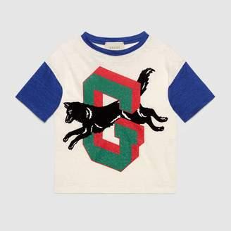 Gucci Children's G wolf linen T-shirt