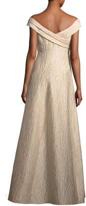 Aidan Mattox Off-the-Shoulder Jacquard A-Line Gown