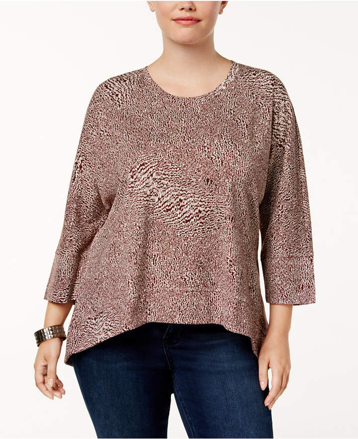 Melissa McCarthy Plus Size Back-Zip High-Low Tunic