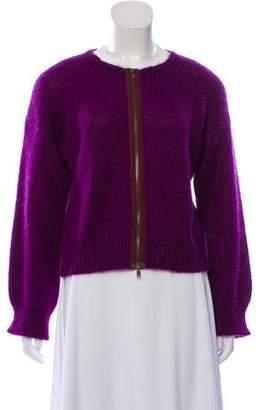 Marni Mohair-Blend Zip-Up Cardigan Purple Mohair-Blend Zip-Up Cardigan