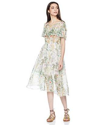 Elise Bloom Women's Elegant Floral Round Collar Chiffon Vacation Dress
