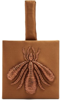 Sanayi 313 - Ragno Embroidered Satin Clutch - Womens - Bronze