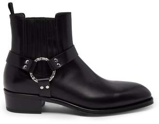 Alexander McQueen Harness Leather Chelsea Boots - Mens - Black