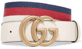 Gucci Striped Canvas And Leather Belt - Ivory
