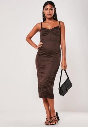 Missguided Brown Satin Seam Detail Midi Dress