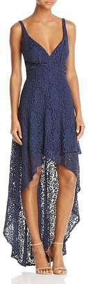 Laundry by Shelli Segal Womens Lace Tiered Evening Dress Navy