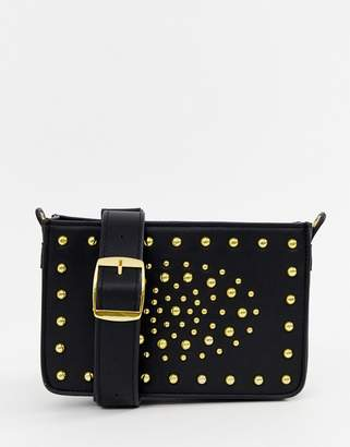 Asos EDITION cross body shoulder flight bag in black with gold studs