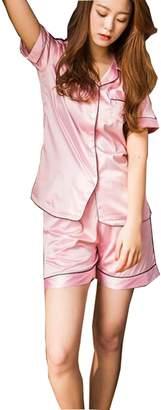 KM Pajamas KM Women's solid short sleeves and short pants Silk Pajama Set